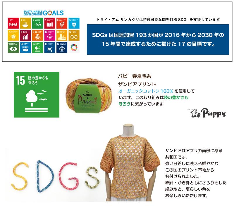 SDGsへの取り組みパピー春夏毛糸「ザンビアプリント」