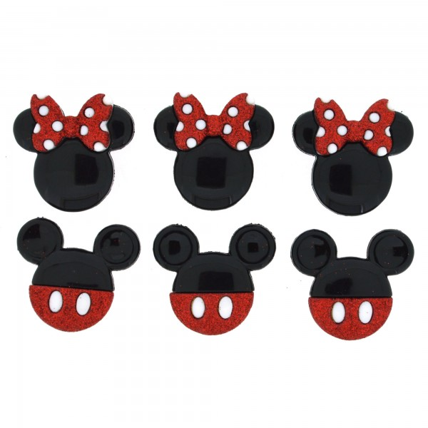 手芸用ボタン Disney 7718 MICKEY AND MINNIE GLITTER